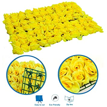 Amazon artificial floral hedge panel yellow roses flowers 24 artificial floral hedge panel yellow roses flowers 24quot x 16quot size mightylinksfo