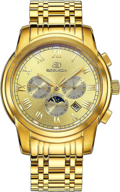 BINKADA 6ポインタ自動機械ゴールドダイヤルメンズ腕時計# 7062b01 – 5 B01DZMFTWI
