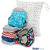 Simple Being Reusable Cloth Diapers, Double Gusset, One Size Adjustable, Washable Soft Absorbent, Waterproof Cover, Eco-Friendly Unisex Baby Girl Boy, with six 4-Layers Microfiber Inserts Green