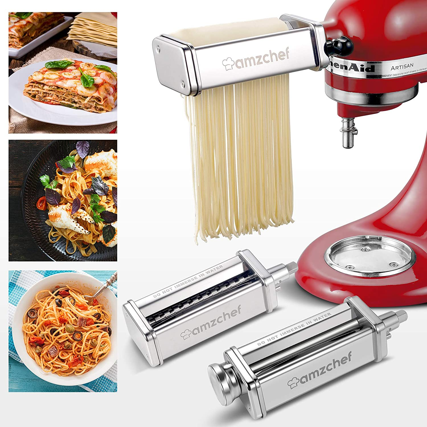 AMZCHEF Pasta Maker Attachment 3 in 1 Set for KitchenAid Stand Mixers,Stainless Steel Pasta Roller Accessories, Included Pasta Sheet Roller, Spaghetti&Fettuccine Cutter