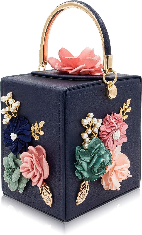 Milisente Evening Clutch Bag for Women Floral Square Box Evening Bags Crossbody Shoulder handBags Flower Wedding Clutch Purse