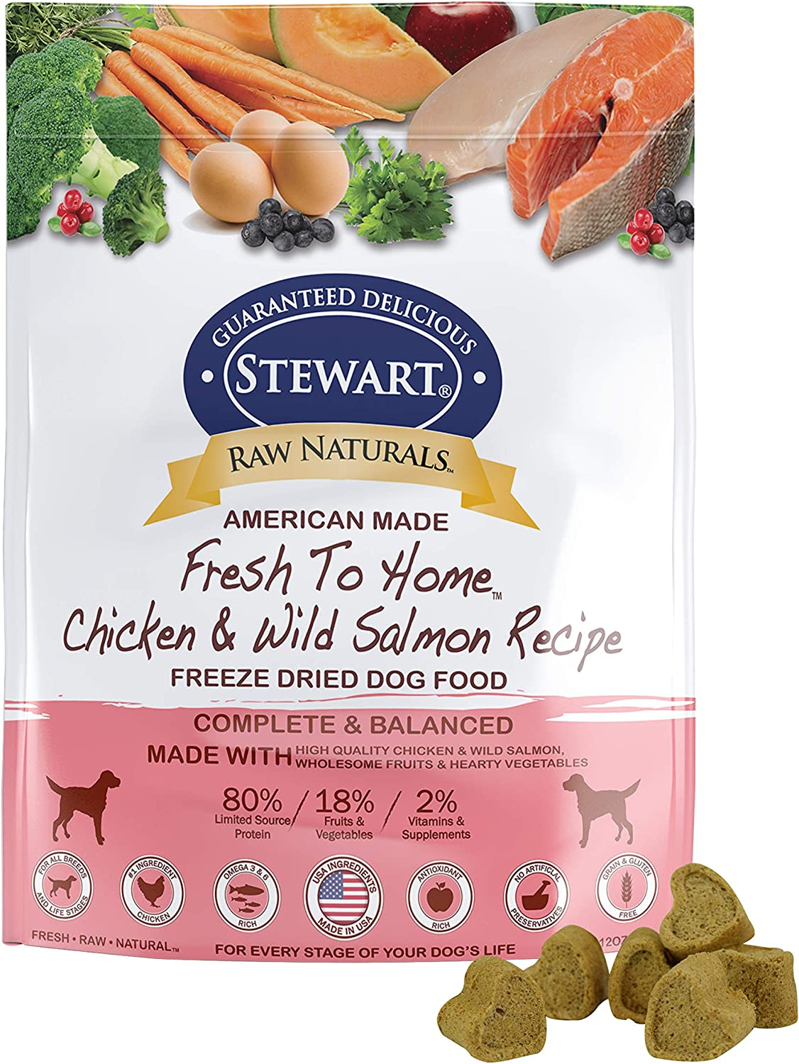 Stewart Raw Naturals Freeze Dried Dog Food Grain Free Made In Usa With Chicken Salmon Fruits Vegetables For Fresh To Home All Natural Recipe 12 Oz Pet Supplies