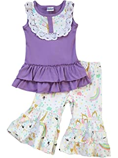 d79155e7bf3c Toddler   Girl 2 Pieces Pant Set Unicorn Dress Ruffle Pants Outfit Pant Set  2T-