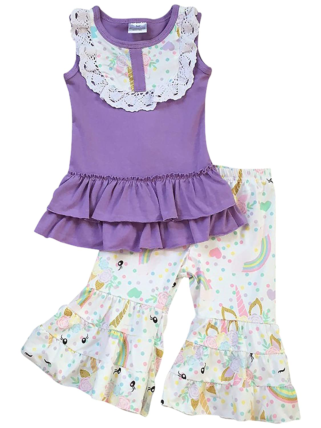 af2e2c2c39b31 Toddler & Girl 2 Pieces Pant Set Unicorn Dress Ruffle Pants Outfit Pant Set  2T-8