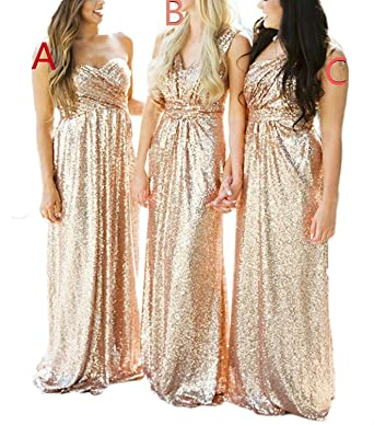 Lorderqueen Womens Rose Gold Sequins Bridesmaid Dresses Long Prom Gowns Size 2 Rose Gold B