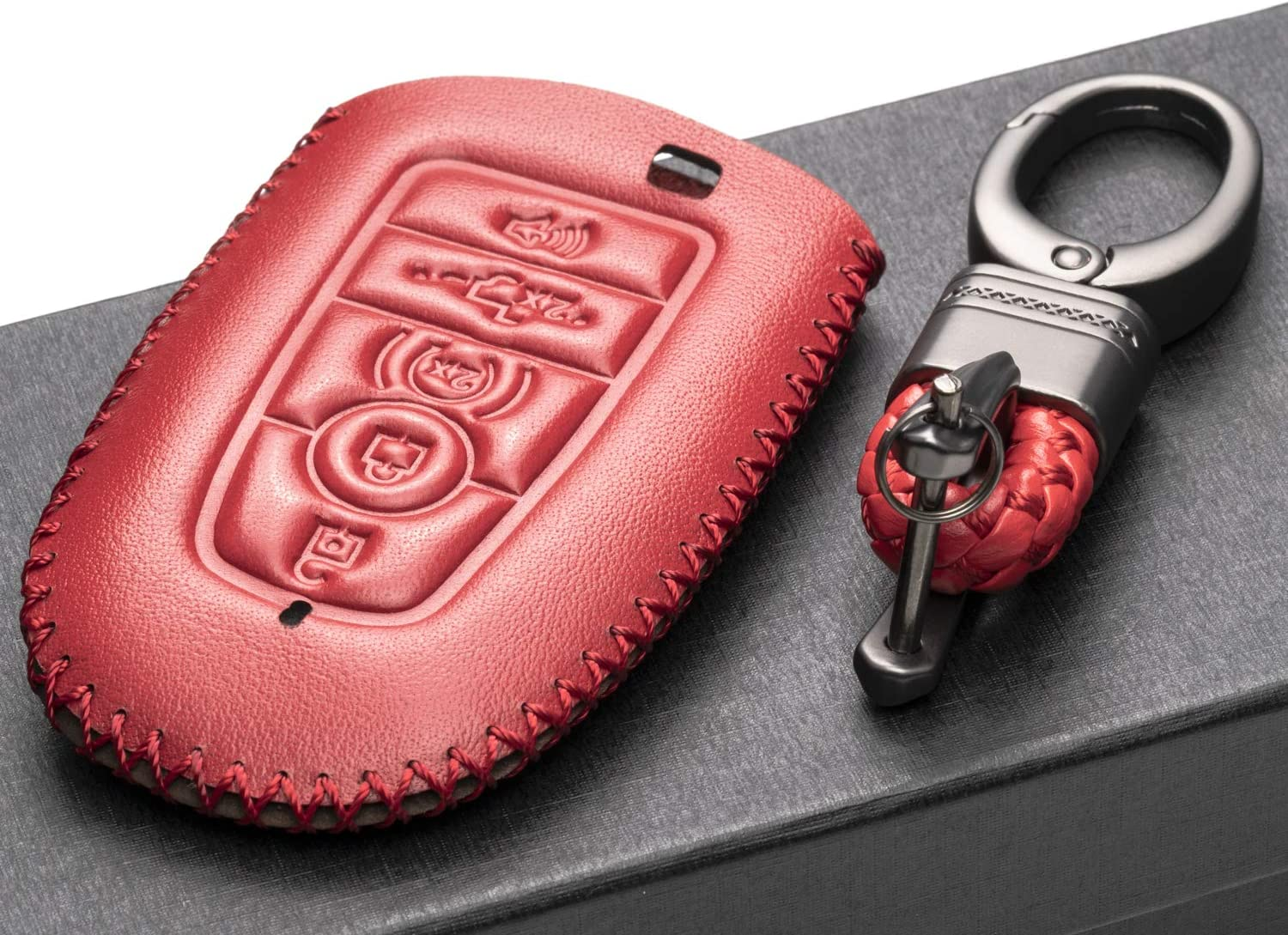Explorer 4-Button, Red F-150 Escape Mustang and More Models Vitodeco Genuine Leather Smart Key Keyless Remote Entry Fob Case Cover with Key Chain for 2019 Ford Fusion Edge