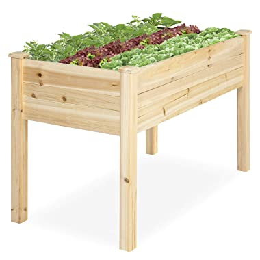 Best Choice Products Elevated 46x22x30-inch Wood Planter Garden Bed Box Stand for Backyard, Patio, Natural