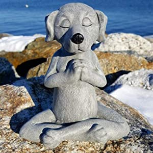 Collections Dog Statue Zen Yoga Relaxed Pose Buddha Meditation Outdoor Sculpture Decoration A-Gray(9.3x8X12cm)