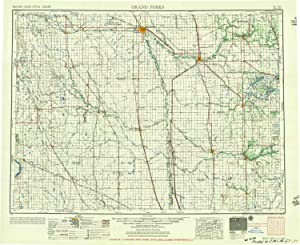 YellowMaps Grand Forks ND topo map, 1:250000 Scale, 1 X 2 Degree, Historical, 1956, Updated 1956, 22 x 27 in