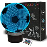 Kids Night Light Football 3D Optical Illusion Lamp with Remote Control 16 Colors Changing Soccer Birthday Xmas Valentine's Da