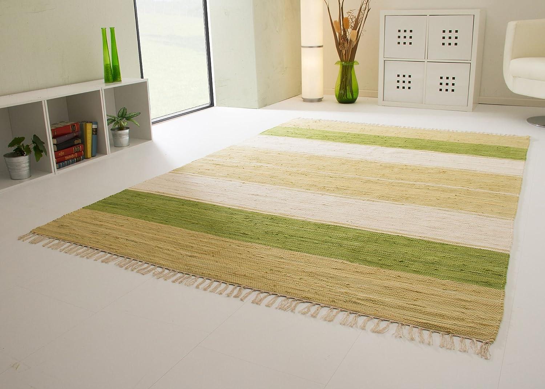 Handwebteppich Indira Colour in Grün - Teppich aus 100% Baumwolle mit Streifen Muster, Größe  160x230 cm