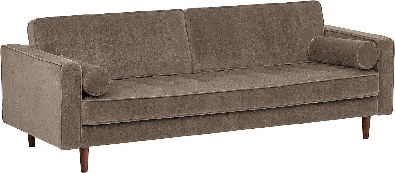 "Rivet Aiden Tufted Mid-Century Modern Velvet Bench Seat Sofa Couch, 86.6""W, Otter Grey"