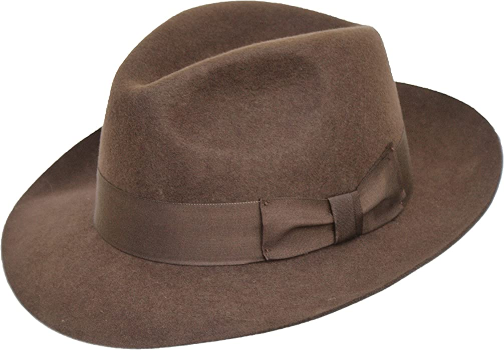 Hand Made Gents Fedora Felt Trilby Hat With Wider Brim 100% Wool NEW BROWN( 42f2e0b8d468