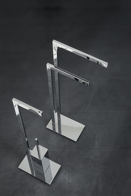 Nicol Design-Handtuchständer VOLTERRA, Handtuchhalter Handtuchhalter Handtuchhalter mit 2 Armen und massiver Bodenplatte, Fester Stand, Messing hochglänzend verchromt, Chrom glänzend, 15 x 32 x 80 cm ef6fcd