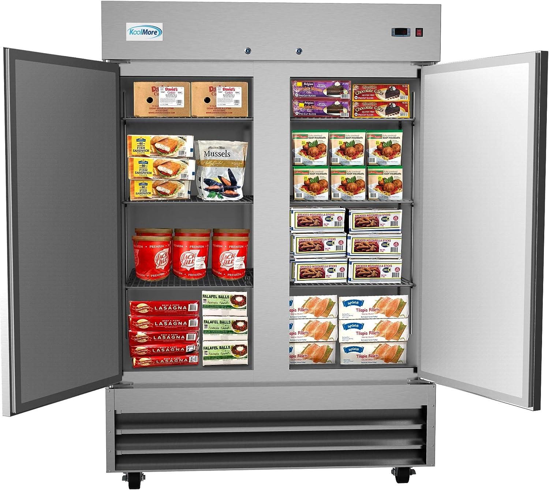 """KoolMore 54"""" 2 Door Stainless Steel Upright Commercial Reach-in Freezer - 47 cu. ft 817JHlfQNXL"""