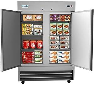 """KoolMore 54"""" 2 Door Stainless Steel Upright Commercial Reach-in Freezer - 47 cu. ft"""