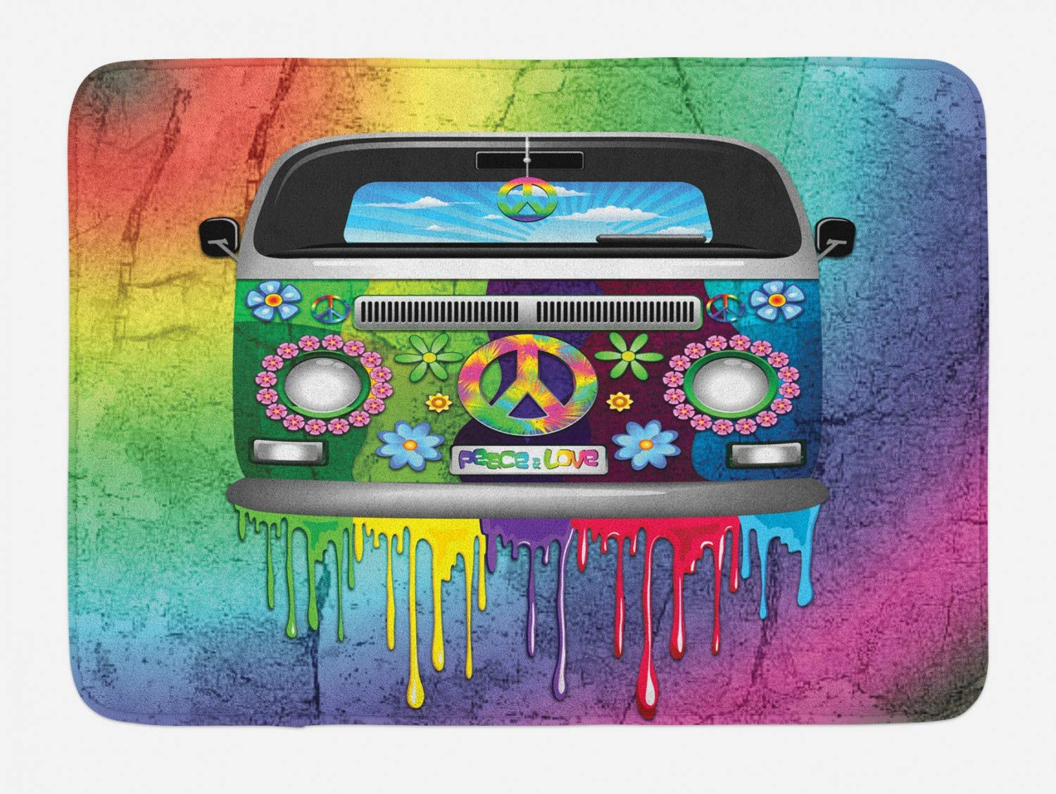 """Ambesonne Groovy Bath Mat, Old Style Hippie Van Dripping Rainbow Paint Mid 60s Youth Revolution Movement Theme, Plush Bathroom Decor Mat with Non Slip Backing, 29.5"""" X 17.5"""", Magenta"""