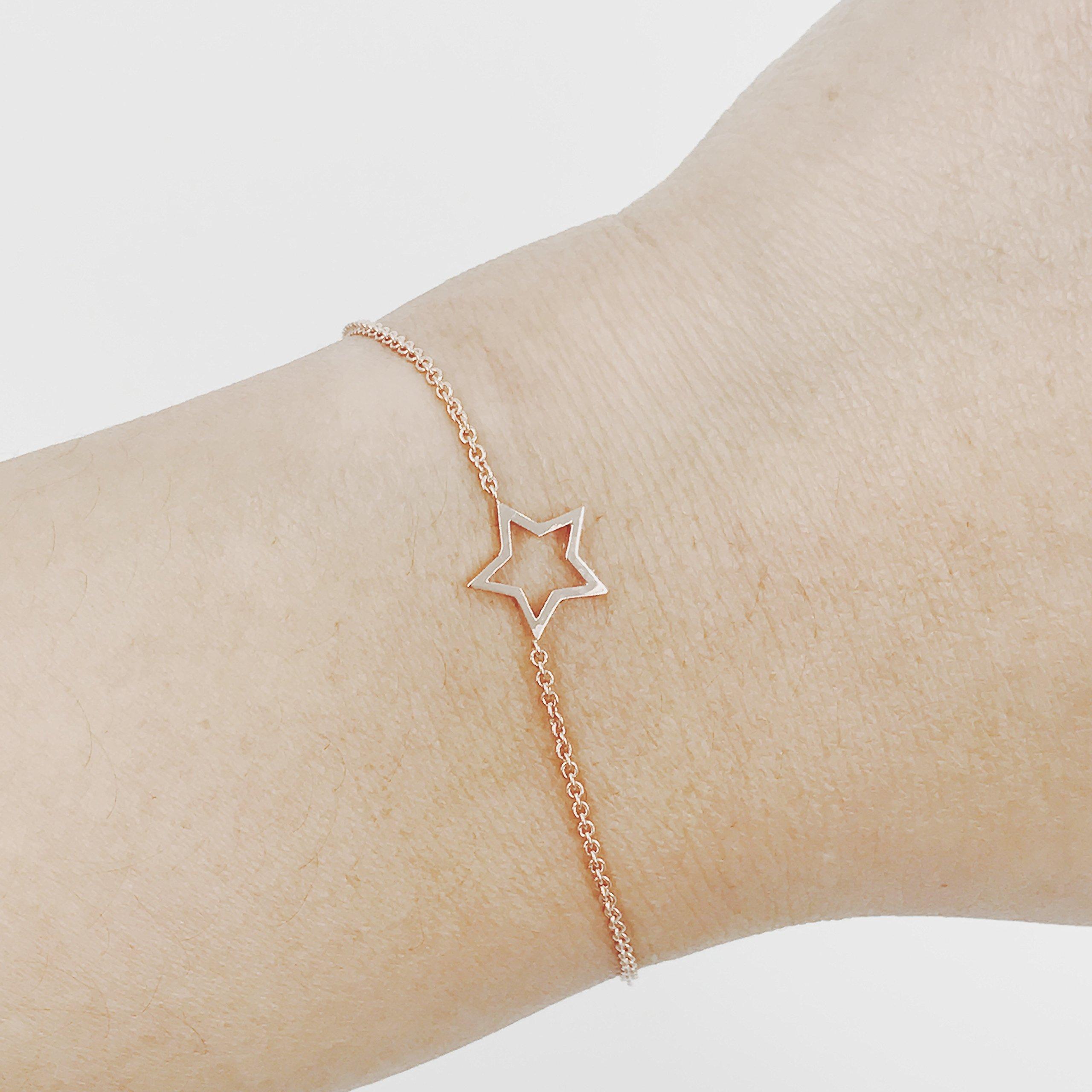 14K Solid Gold Star Bracelet, Tiny Star Bracelet, Star Charm Bracelet, Dainty Gold Bracelet, Minimalist Bracelet
