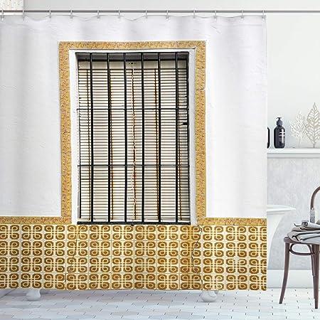 Abakuhaus Pays Rideau De Douche Espagnol Moderne Shutter Tissu Ensemble De Decor De Salle De Bain Avec Crochets 175 Cm X 200 Cm Marron Blanc Amazon Fr Cuisine Maison