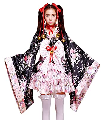 VSVO Anime Cosplay Lolita Halloween Fancy Dress Japanese Kimono Costume (Kids Small)  sc 1 st  Amazon.com & Amazon.com: VSVO Anime Cosplay Lolita Halloween Fancy Dress Japanese ...