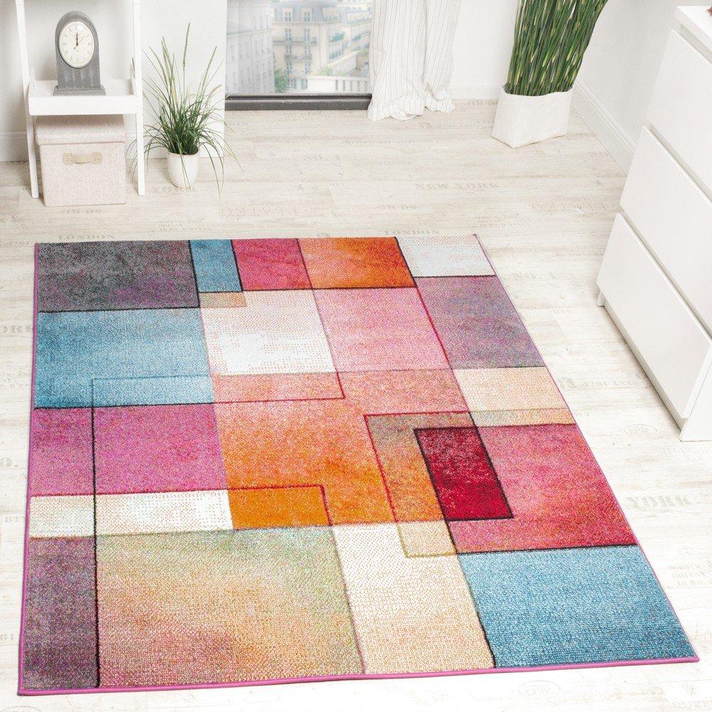 Paco Home Designer Teppich Modern Bunt Karo Muster Multicolour Türkis Grün Fuchsia Meliert, Grösse 200x280 cm