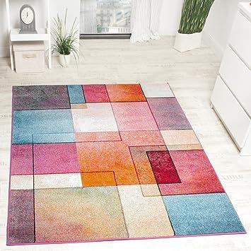 Paco Home Designer Teppich Modern Bunt Karo Muster Multicolour