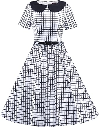 Ladies 1950s Plaid Check Rockabilly Vintage Style Retro Womens Party Swing Dress