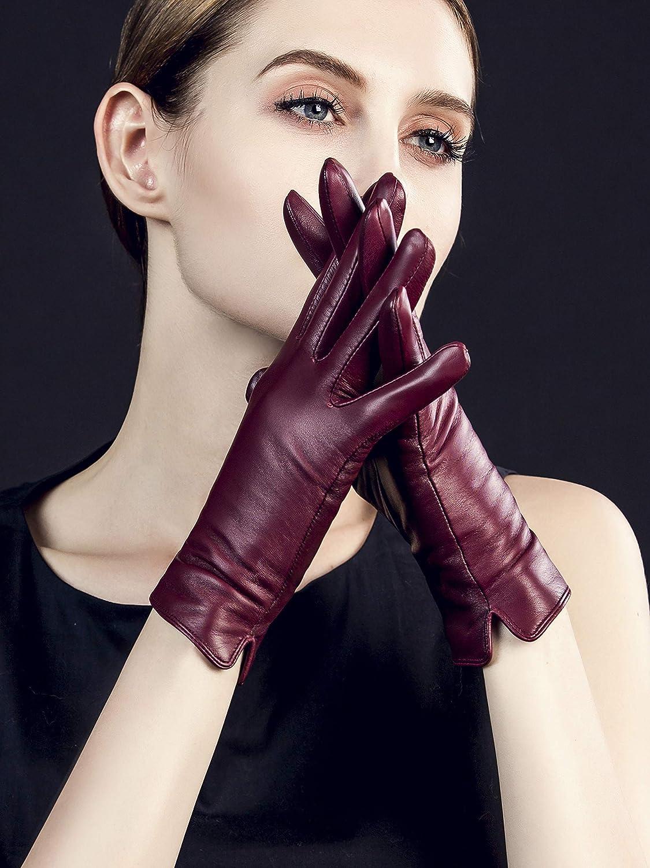 Metallniete YISEVEN Damen Touchscreen Lederhandschuhe Wolle Gef/üttert