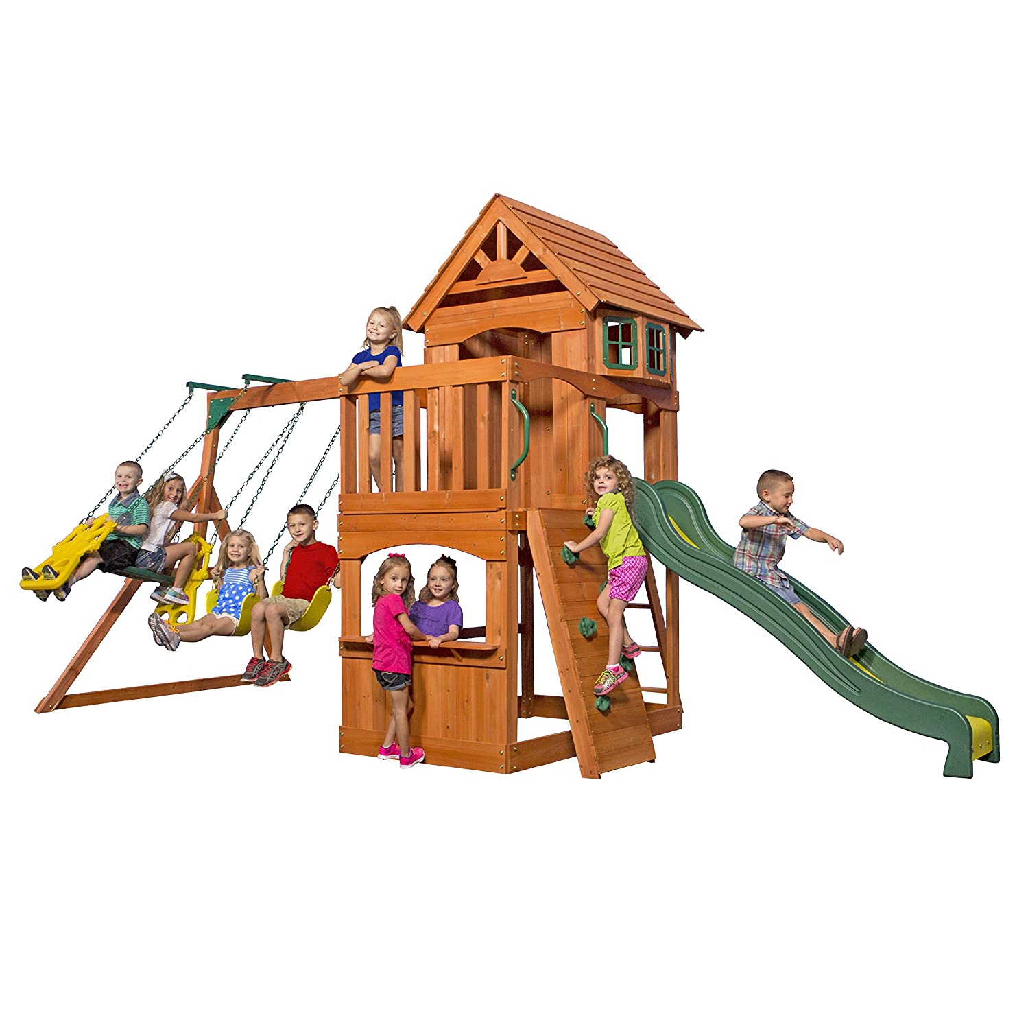 amazon com backyard discovery atlantis all cedar wood playset