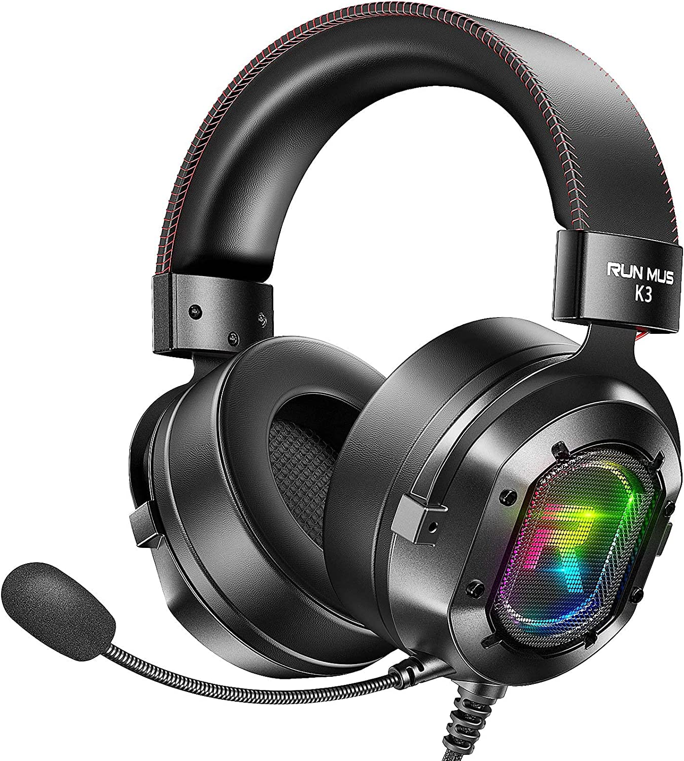 RUNMUS Gaming Headset for Xbox One, PS4, PC Headset w/ Surround Sound, Over Ear Headphones with Noise Canceling Mic & RGB Light, Compatible with Xbox One, PS4, Nintendo Switch, PC, Mac, Sega Dreamcast