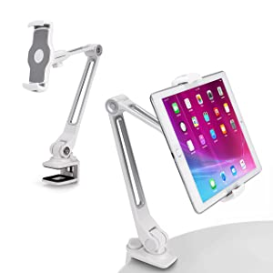 "AboveTEK Sturdy iPad Holder, Aluminum Long Arm iPad Tablet Mount, 360° Swivel Tablet Stand & Phone Holder with Bracket Cradle Clamps 4-11"" Devices for Kitchen Bedside Office Desk Showcase Display"