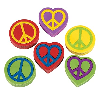 24 Peace Sign Erasers