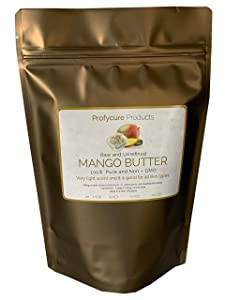 Mango Butter 8 oz Natural Unrefined Pure 100% Raw , Moisturizing, Scent-free, Hexane-free Premium Grade for Soft Supple Skin and Healthy Hair , Nourishing & Healing Care & DIY- Made in USA