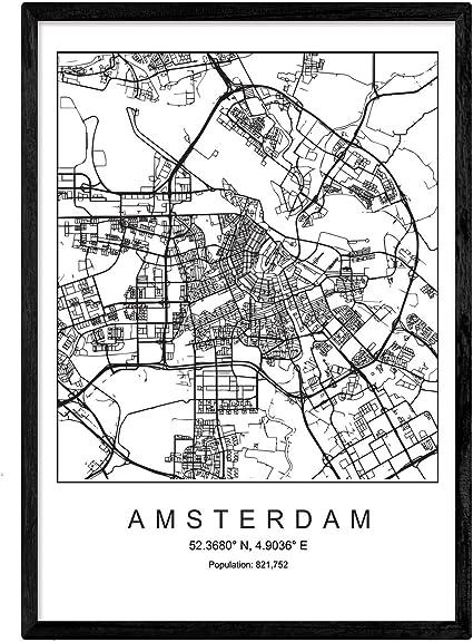 Nacnic Lámina Mapa de la Ciudad Amsterdam Estilo nordico en Blanco ...