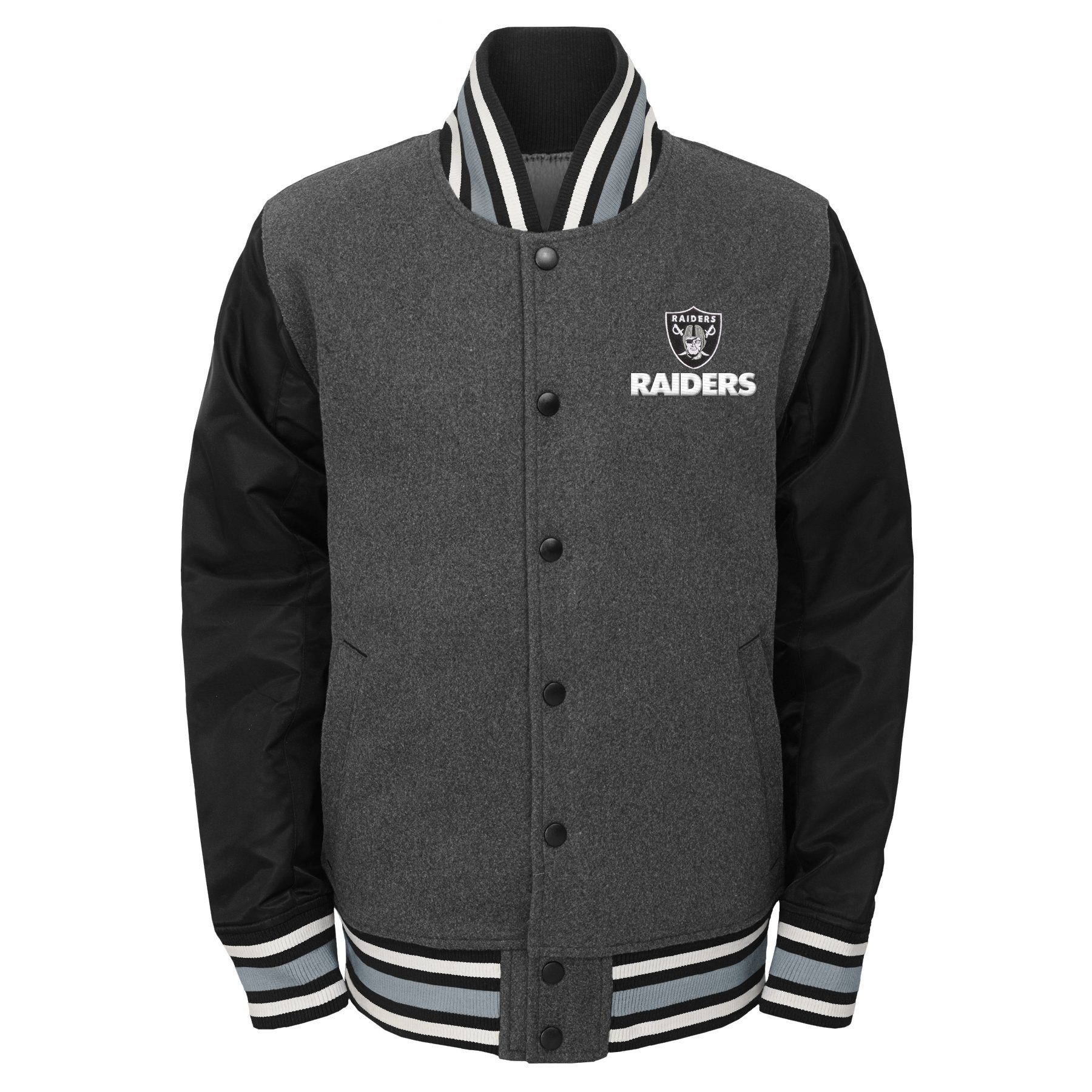 Outerstuff NFL Big Boys' Letterman Varsity Jacket, Charcoal Grey, Youth Large (14-16)