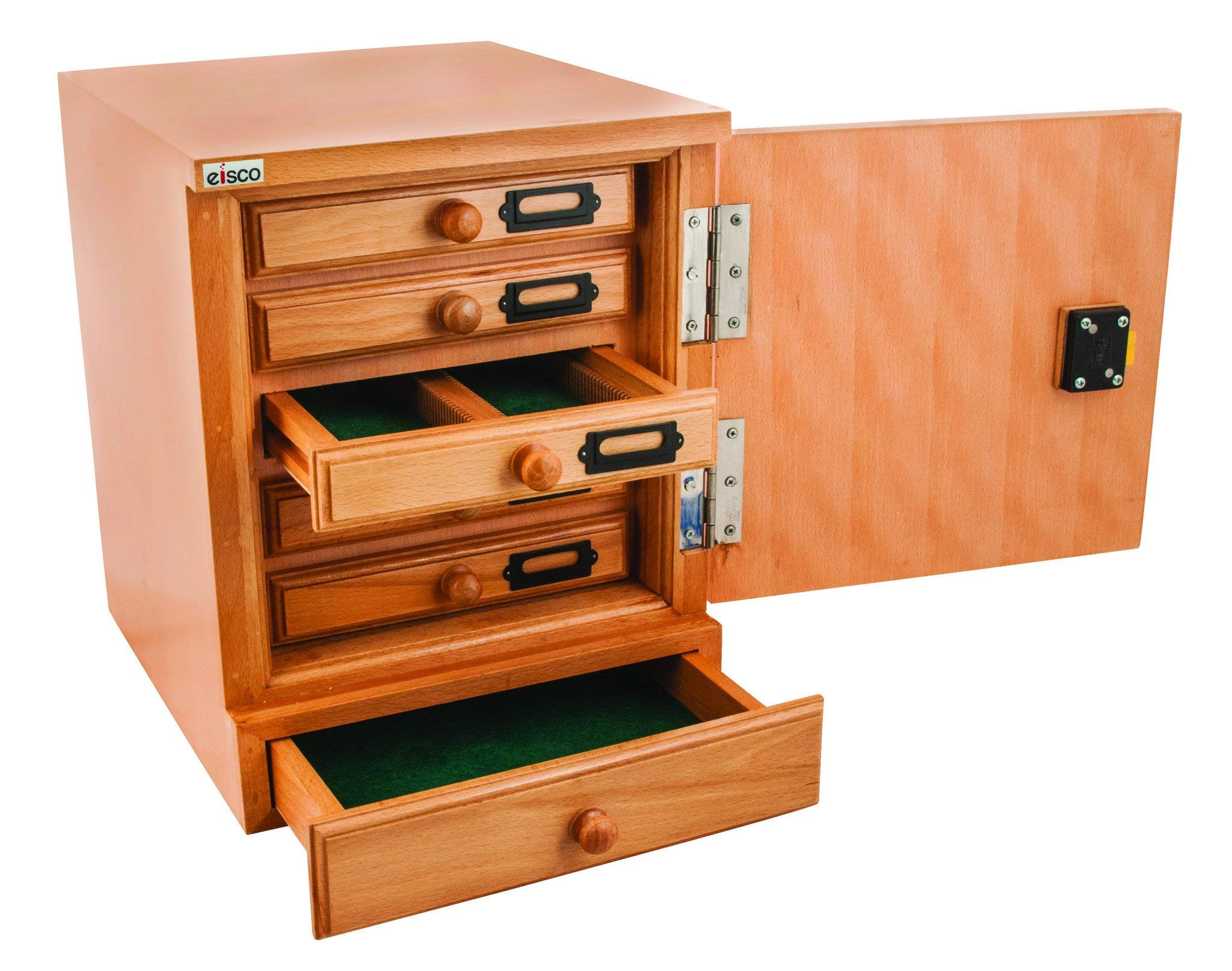 Eisco BI0123A Wooden Slide Cabinet, 5 Drawers, 500 Slide Capacity Total by Eisco