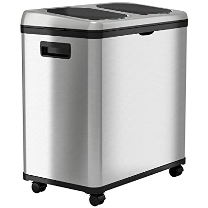 ITouchless Stainless Steel Trash Can/Recycler, Automatic Sensor Touchless  Lid, Dual Compartment