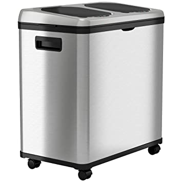 iTouchless 16 Gallon Touchless Trash Can and Recycle Bin, Stainless Steel,  Dual-Compartment (8 Gal...