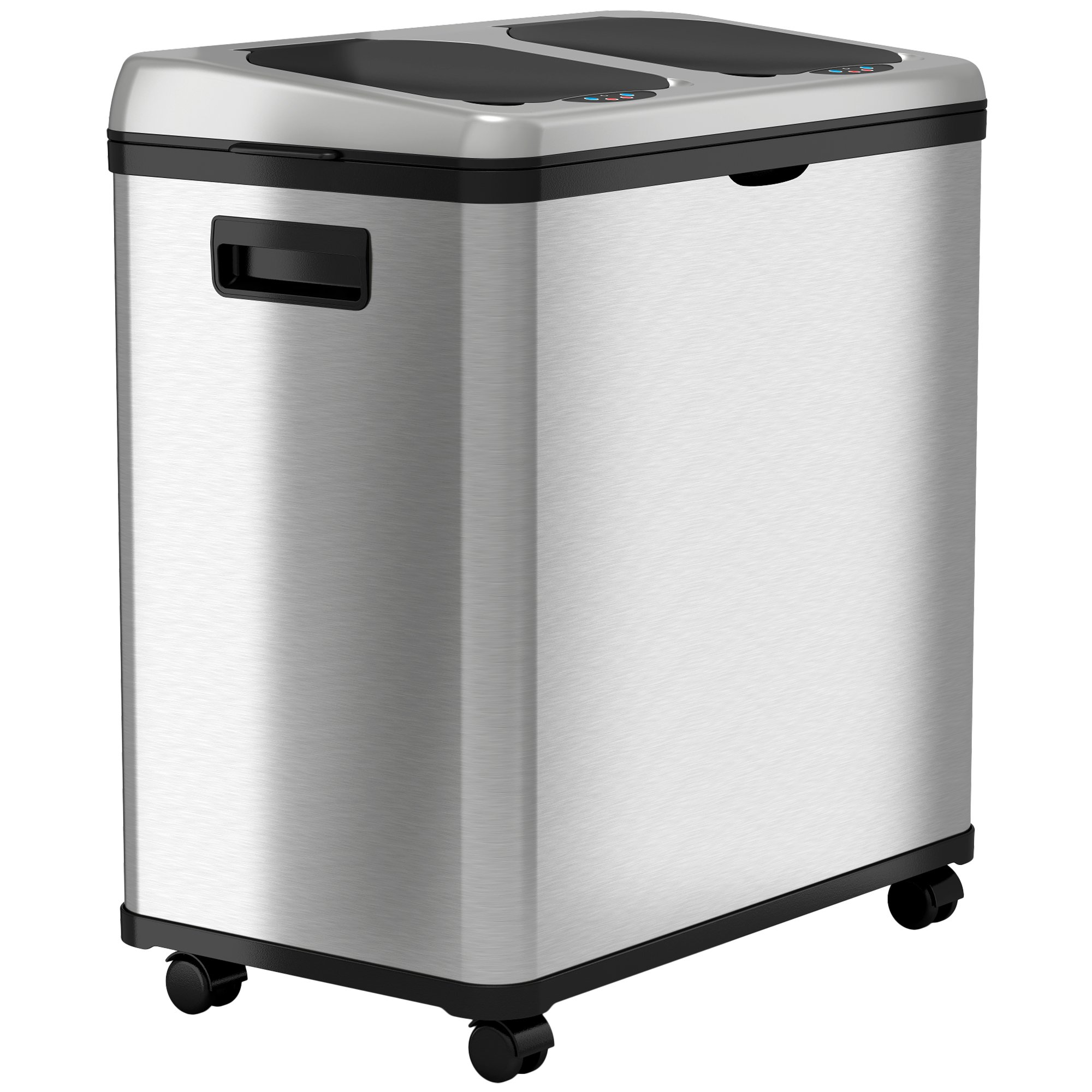 iTouchless Stainless Steel Trash Can / Recycler, Automatic Sensor Touchless Lid, Dual-Compartment (8 Gal each) – 16 Gal / 61 L