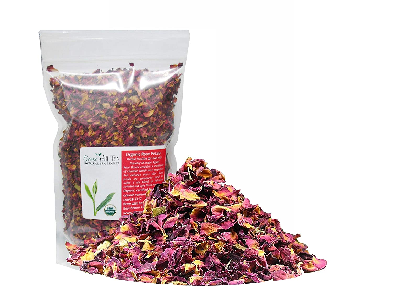 Organic Rose Flower Rose Petals Tea caffeine free herbal tea (Organic Rose Flower 4 OZ)