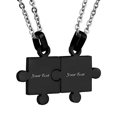 b3bb3757e3 Custom Engraving Name/Date Stainless Steel Matching Jigsaw Puzzle Pendant  Chain Necklace for Couple's Gift