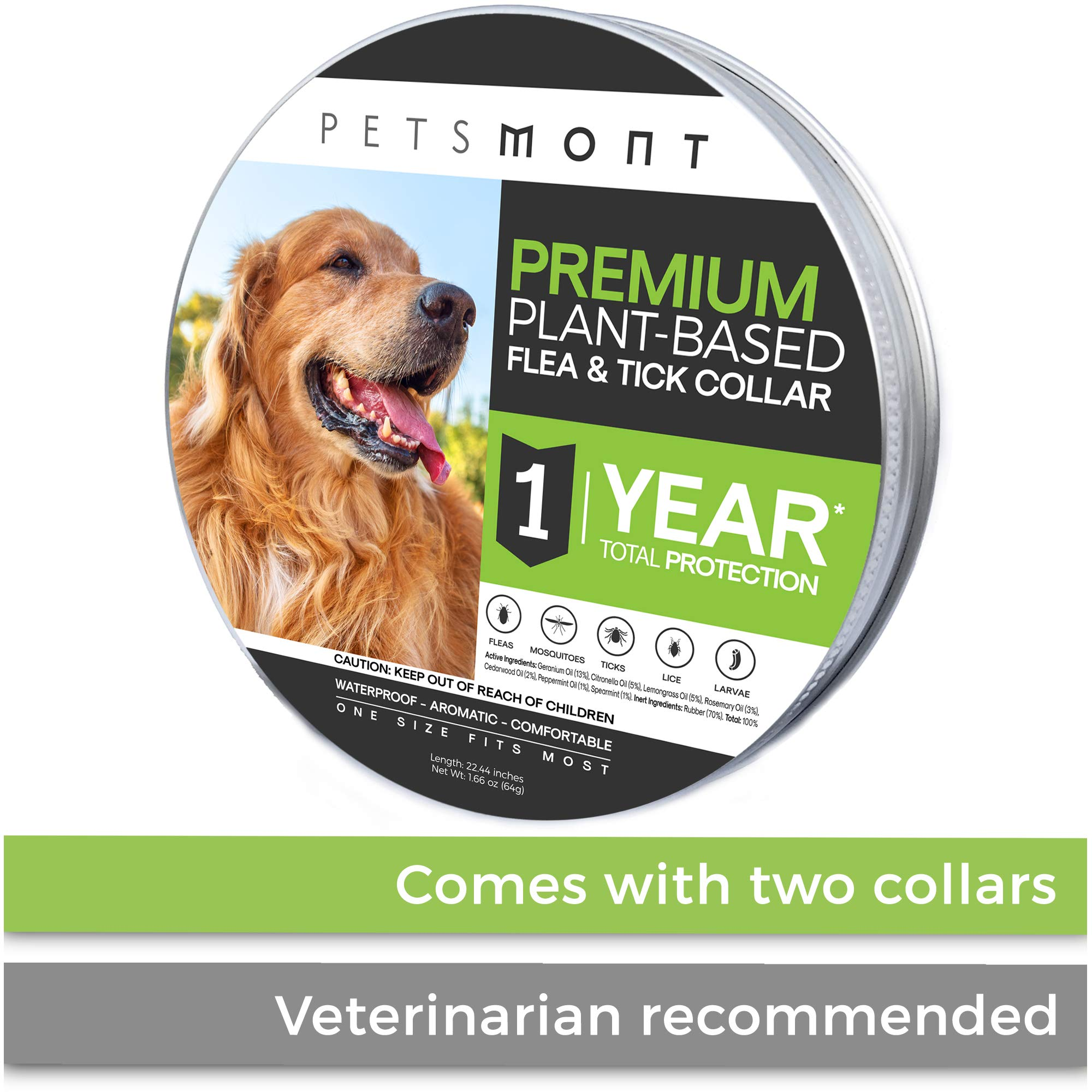 Petsmont Flea Collar for Dogs, Tick Collar for Dogs, Flea and Tick Collar for Dogs, Dog Flea Collar, Unique Plant Based Formula, Small to Extra Large, 1 Year Protection, Stone Gray Color by Petsmont