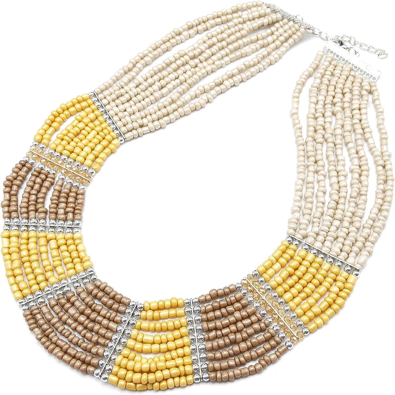 CC927F-Collar de varias vueltas de perlas Rocaille opacas, color Beige/marrón-modo de fantasía