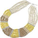 CC927F - Collier Multi-Rangs Perles de Rocaille Opaques Beige/Marron - Mode Fantaisie