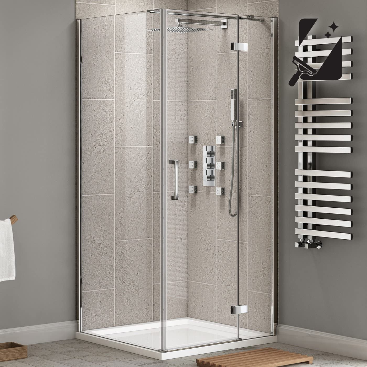 1200 x 900 mm moderno cuarto de baño con cabina de ducha de vidrio limpio fácil + laterales de cristal: iBathUK: Amazon.es: Hogar