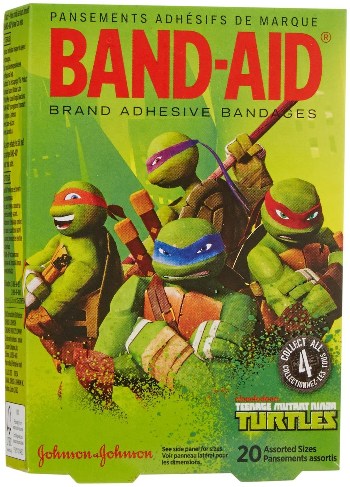 Band-Aid Adhesive Bandages-Teenage Mutant Ninja Turtles-20 ct, Assorted Sizes by Band-Aid (Image #1)