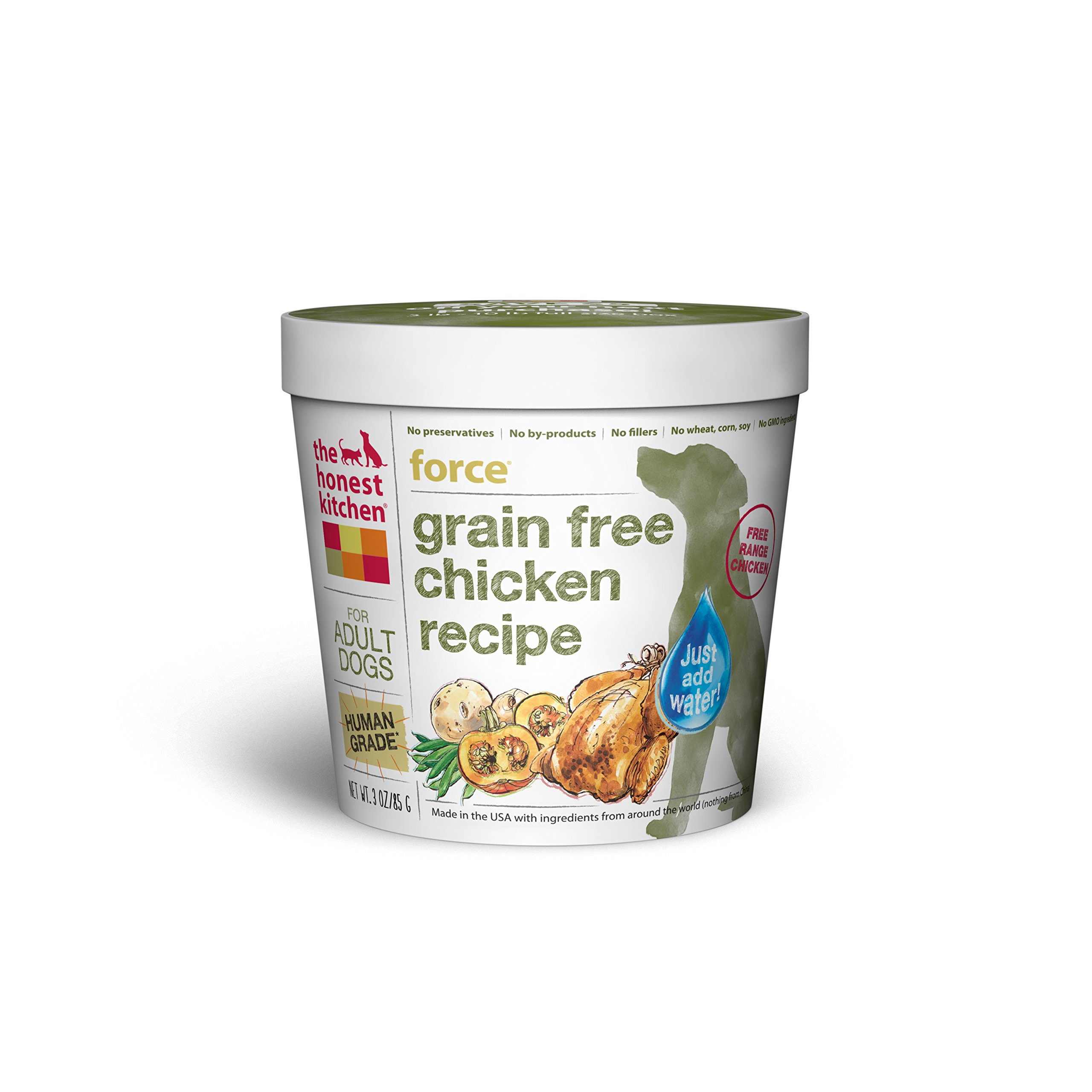 The Honest Kitchen Human Grade Dehydrated Grain Free Chicken Dog Food, Single Serve Cup (Tray of 8) - Force