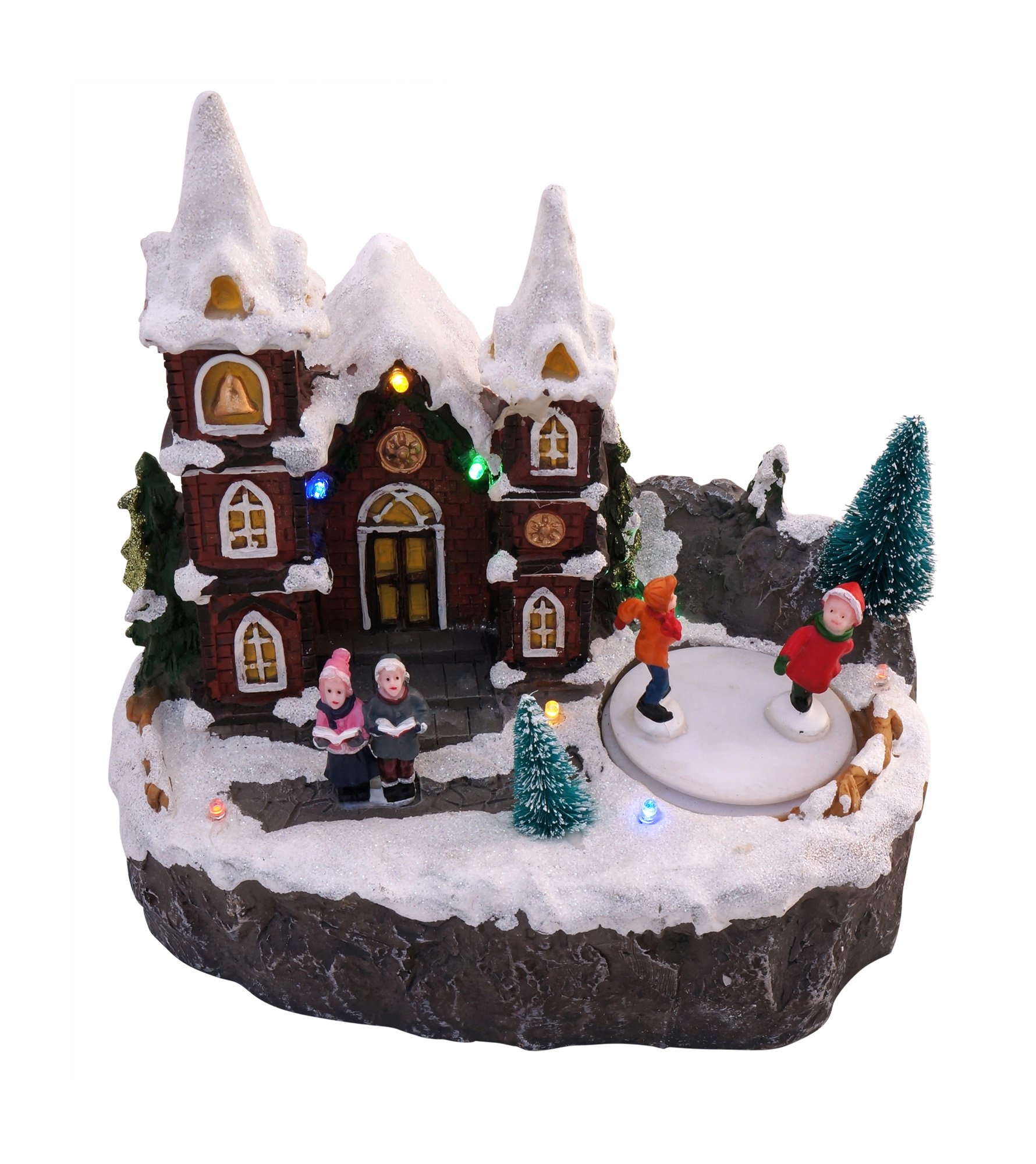 LED Lighted Snowy Christmas Village Animated Winter House Scenes (Ice Skaters)