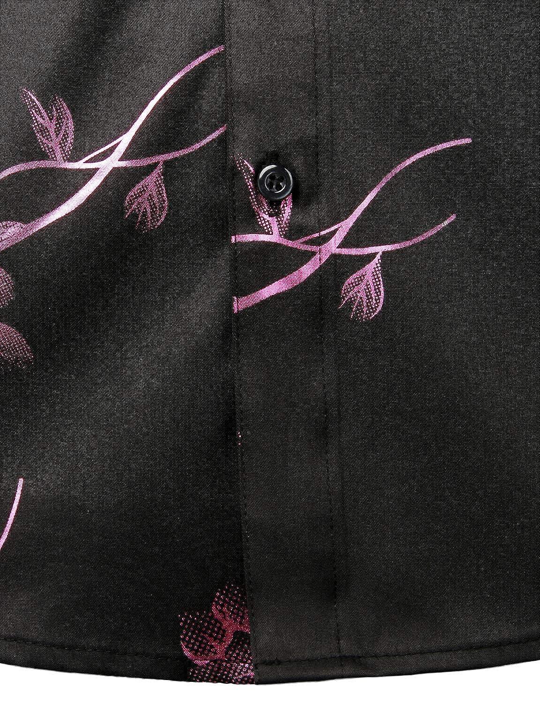 ZEROYAA Mens Nightclub Shiny Golden 3D Rose Printed Slim Fit Button Down Party Dress Shirt