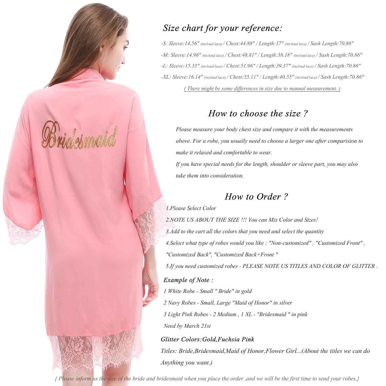 PROGULOVER Women's Set Of 10 Bridesmaid Robes For Wedding Cotton Kimono Bridal Party Getting Ready Robe With Blush Gold Glitter by PROGULOVER (Image #3)
